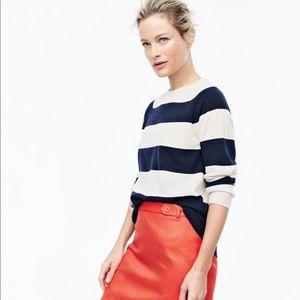 J. Crew Factory Navy/White Wide-Stripe Sweater, M